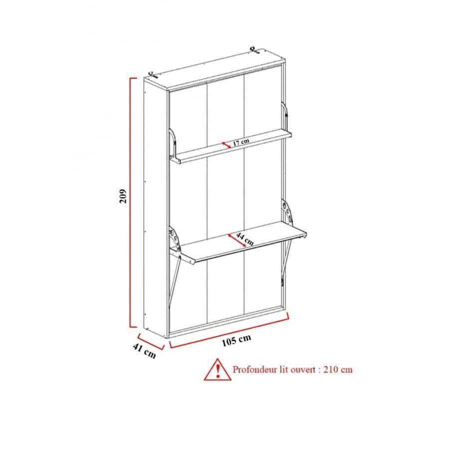 Armoire lit escamotable vertical 1 place dimensions