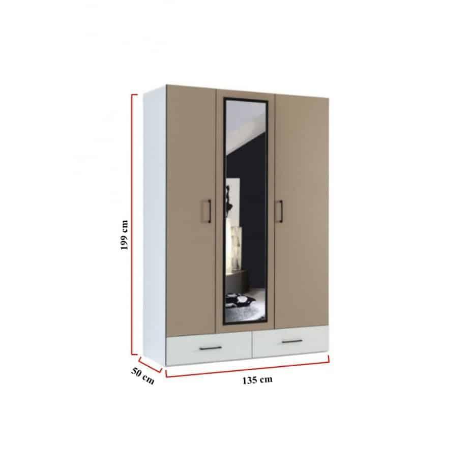 Lit escamotable Pratix | Armoire 3 portes avec penderie dimensions