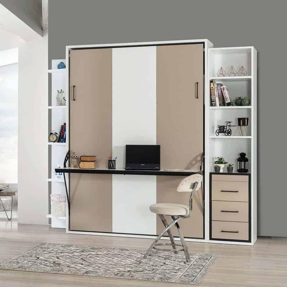 Lit escamotable Pratix   Armoire lit escamotable vertical 2 places dans chambre 1