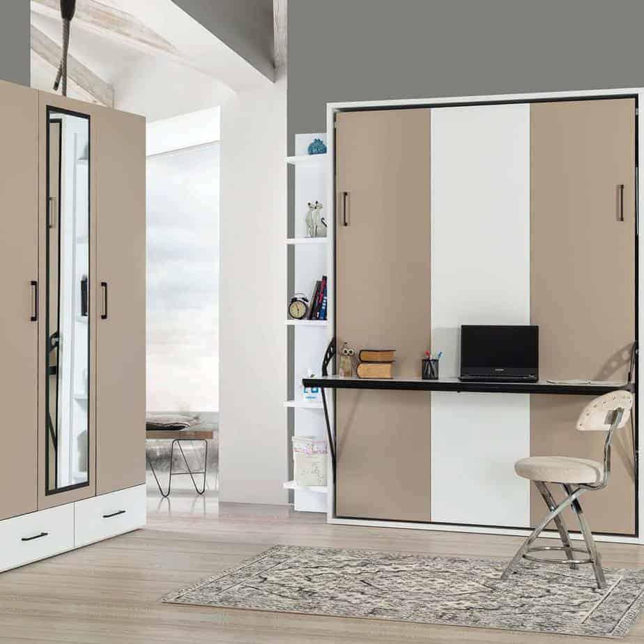 Lit escamotable Pratix   Armoire lit escamotable vertical 2 places dans chambre