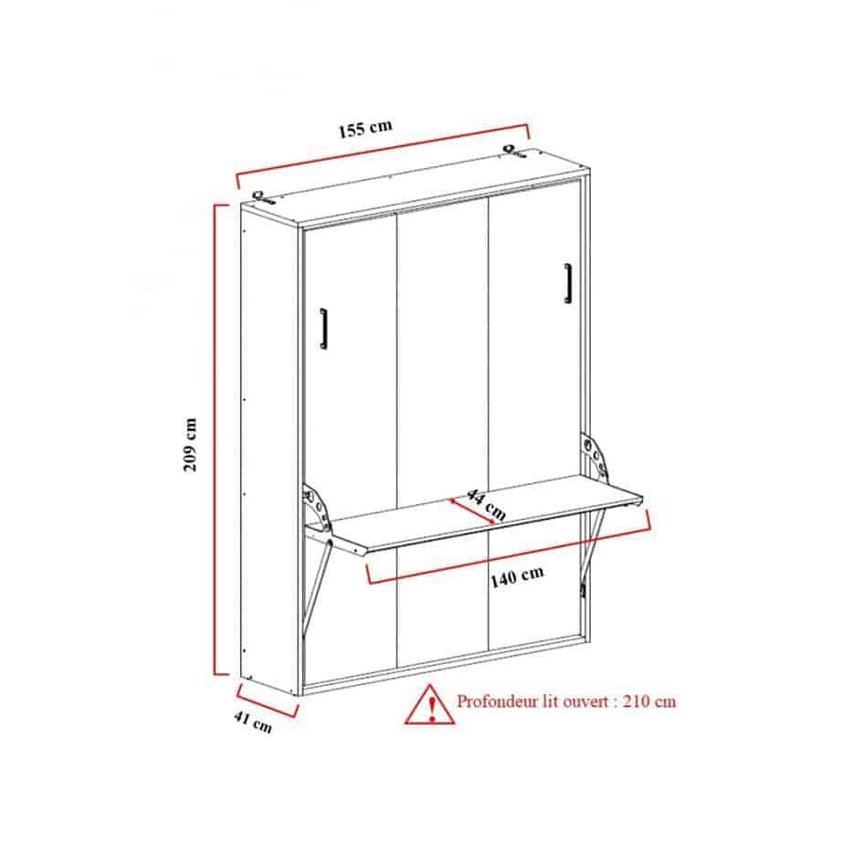 armoire lit escamotable verticale 2 places