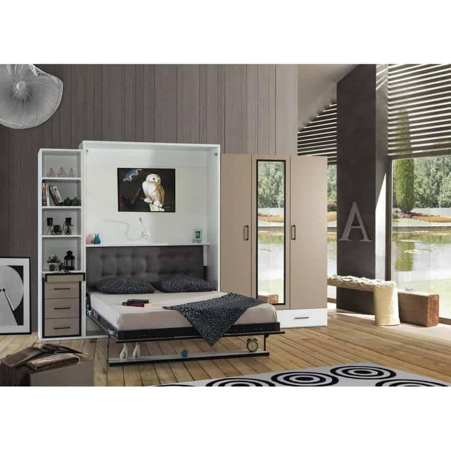 Armoire lit escamotable vertical 2 places lit