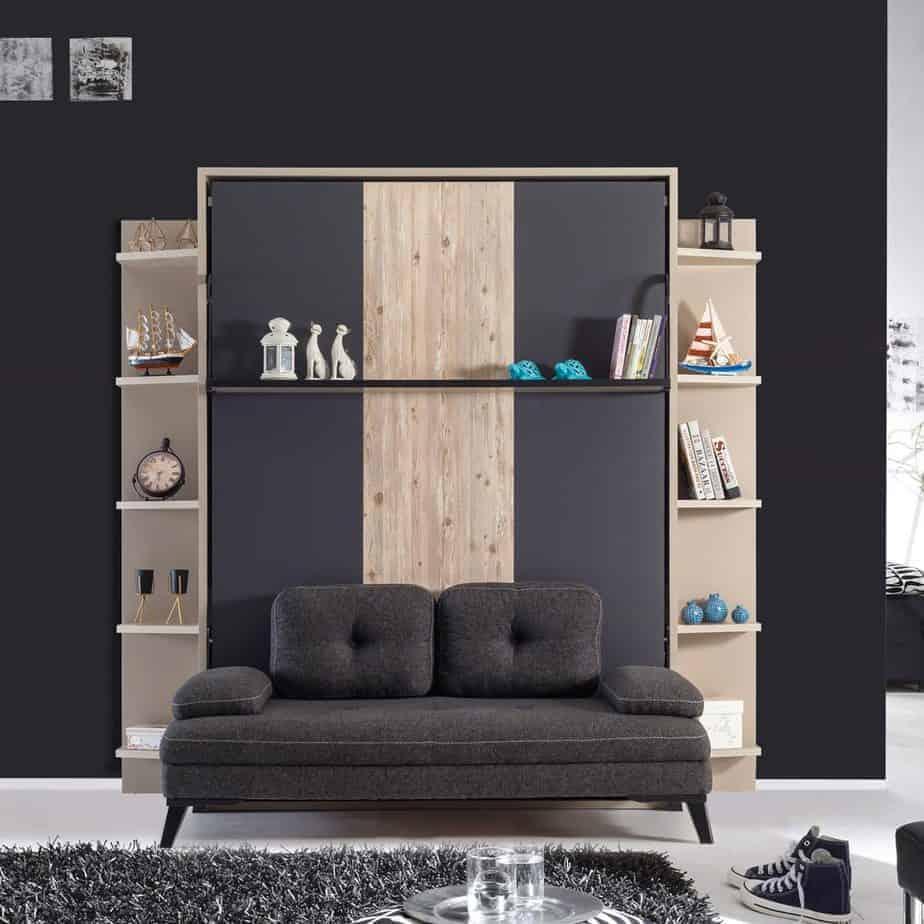 Armoire lit escamotable vertical XL 2 places avec canape chambre salon 01