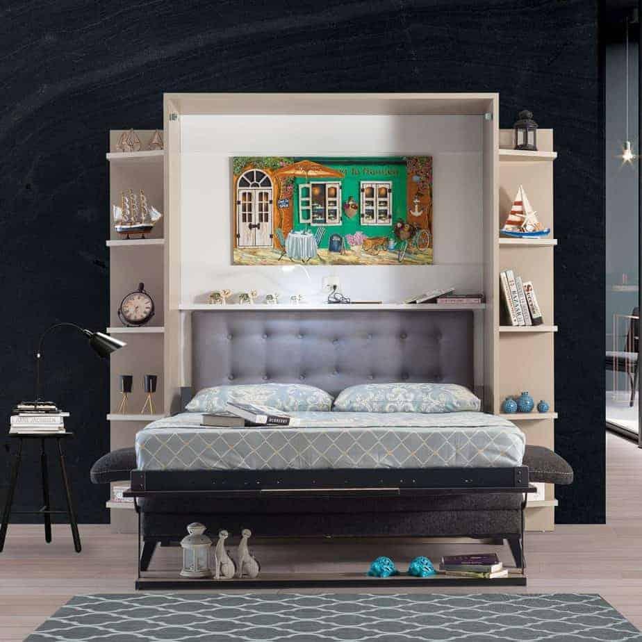 Armoire lit escamotable vertical XL 2 places avec canape chambre salon 02