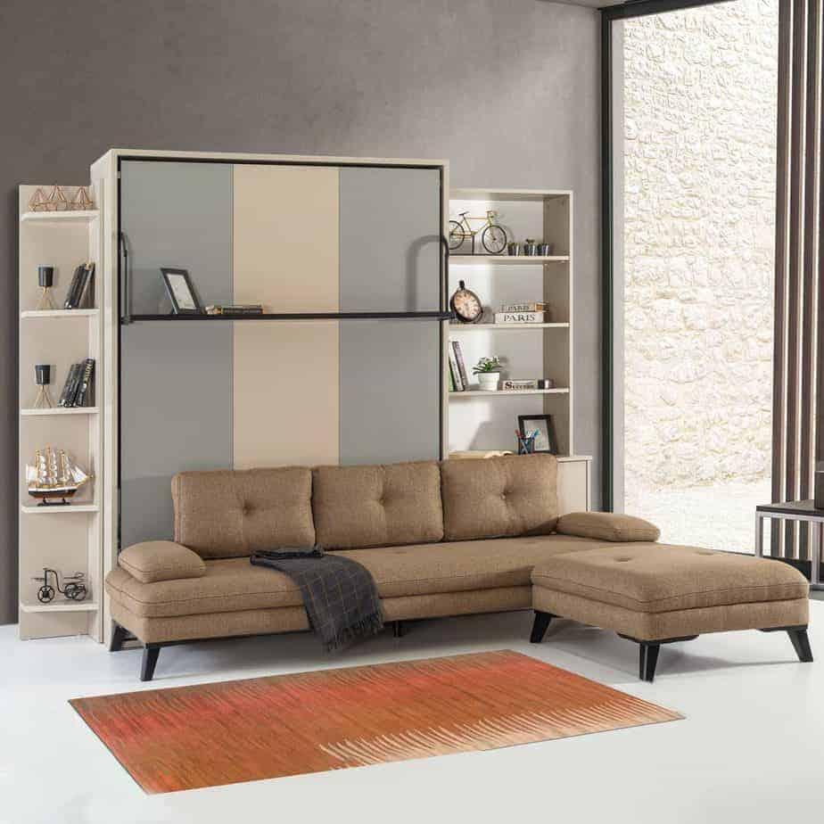 Armoire lit escamotable vertical XL 2 places avec canape chambre salon 03