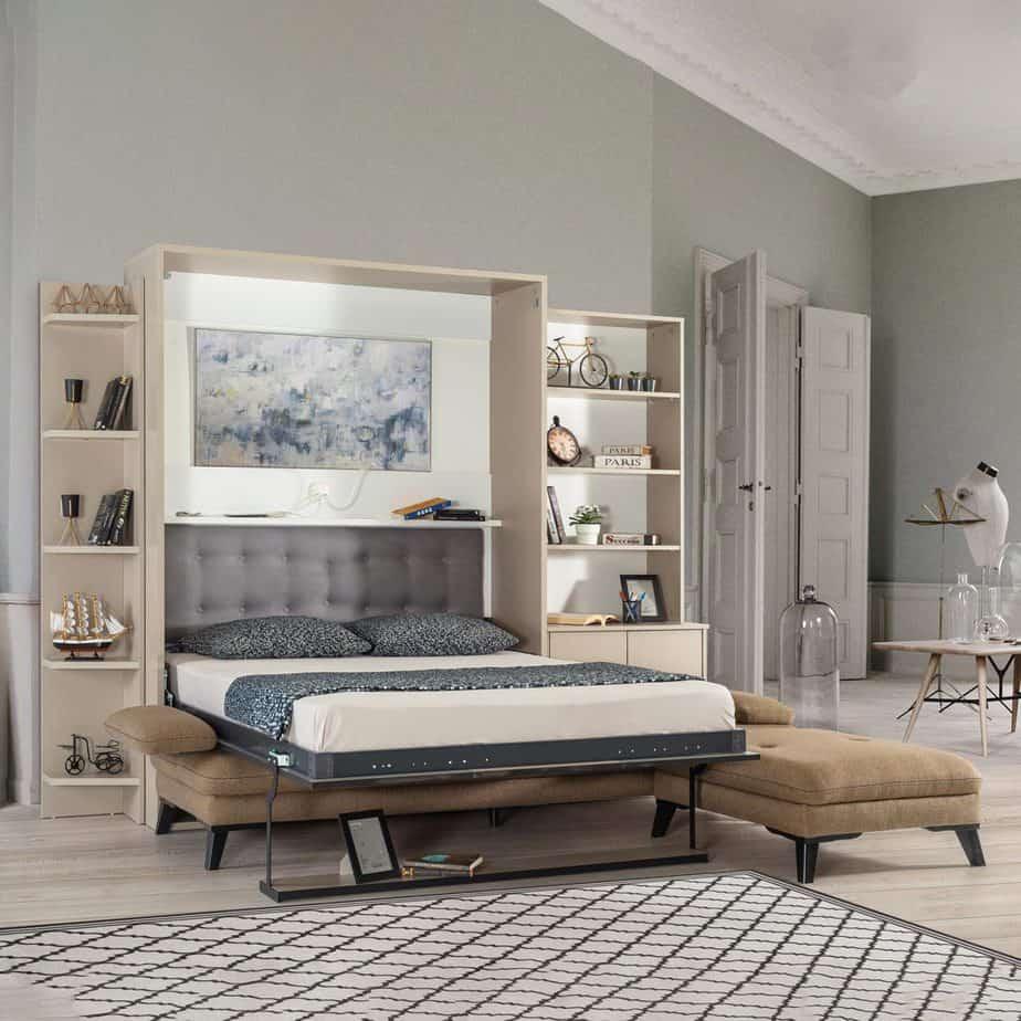 Armoire lit escamotable vertical XL 2 places avec canape chambre salon 04