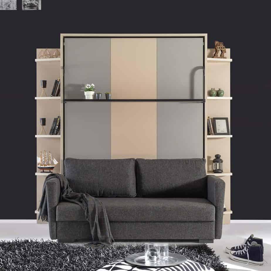 Armoire lit escamotable vertical XL 2 places avec canape chambre salon 05