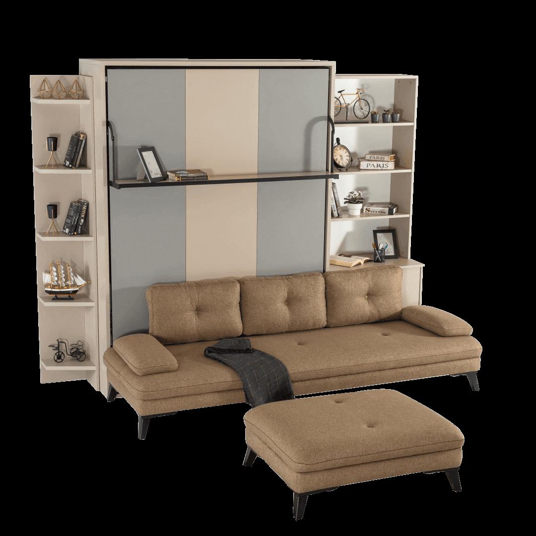 Armoire lit escamotable vertical XL 2 places avec canape lit ferme 1
