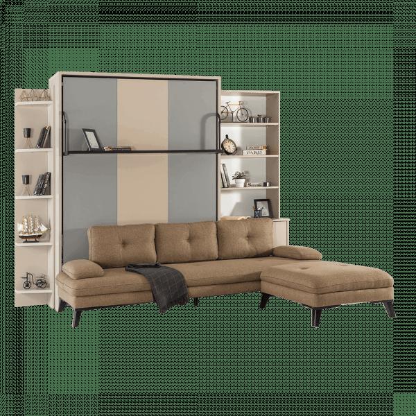 Lit escamotable Pratix | Armoire lit escamotable vertical XL 2 places avec canape lit ferme