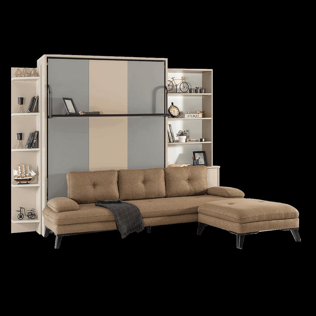 Armoire lit escamotable vertical XL 2 places avec canape lit ferme
