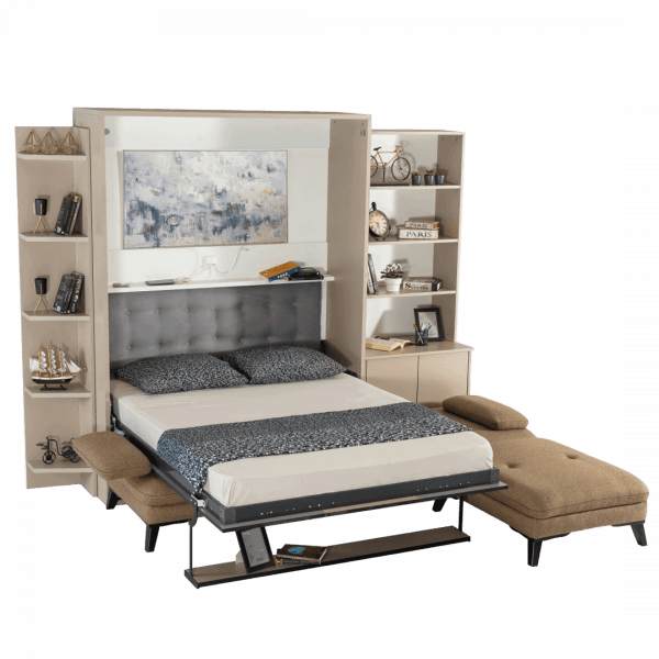 Lit escamotable Pratix | Armoire lit escamotable vertical XL 2 places avec canape lit ouvert 1