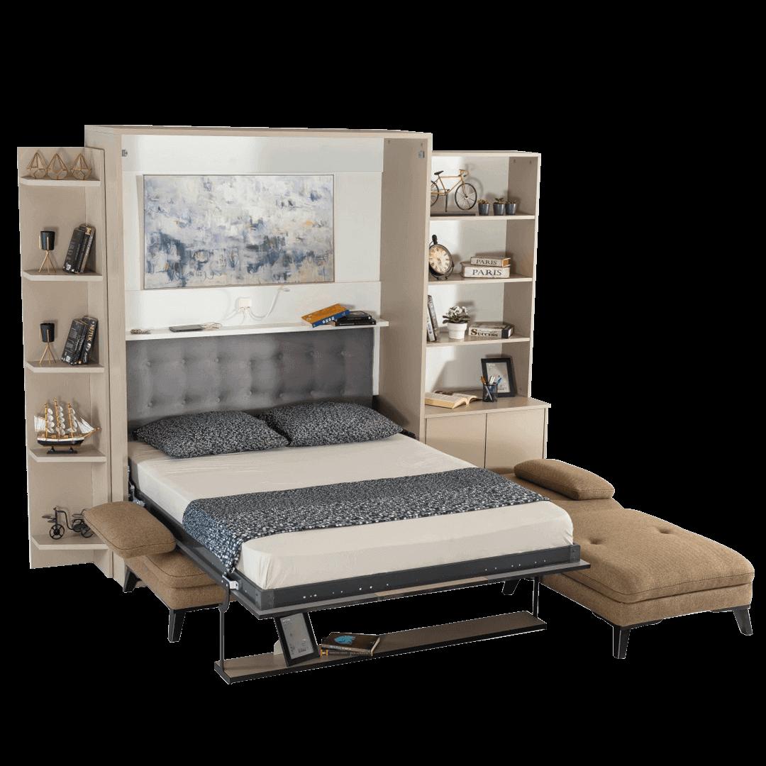 Armoire lit escamotable vertical XL 2 places avec canape lit ouvert 1