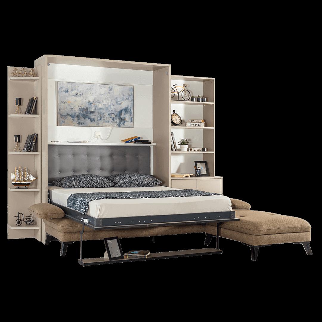Armoire lit escamotable vertical XL 2 places avec canape lit ouvert