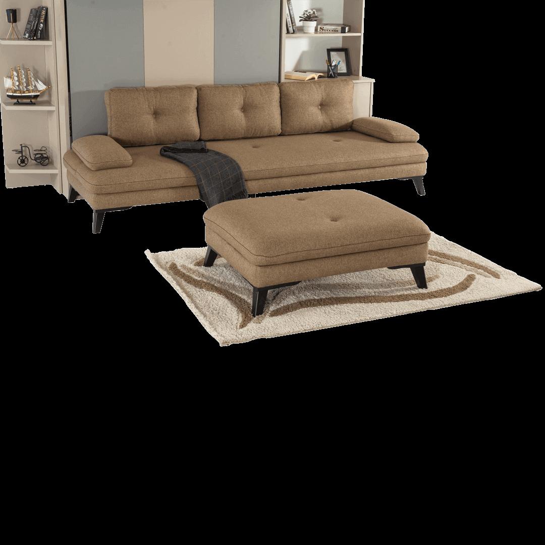 Armoire lit escamotable vertical XL 2 places avec canape marron et pouf