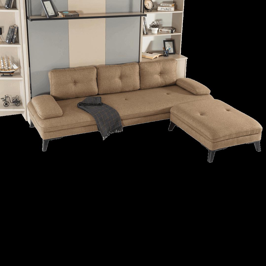 Armoire lit escamotable vertical XL 2 places avec canape marron