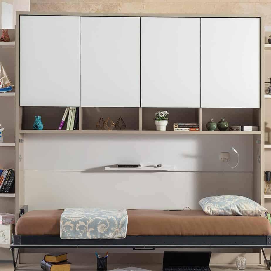 Lit escamotable Pratix | Armoire sur meuble horizontal pour 1 personne 1