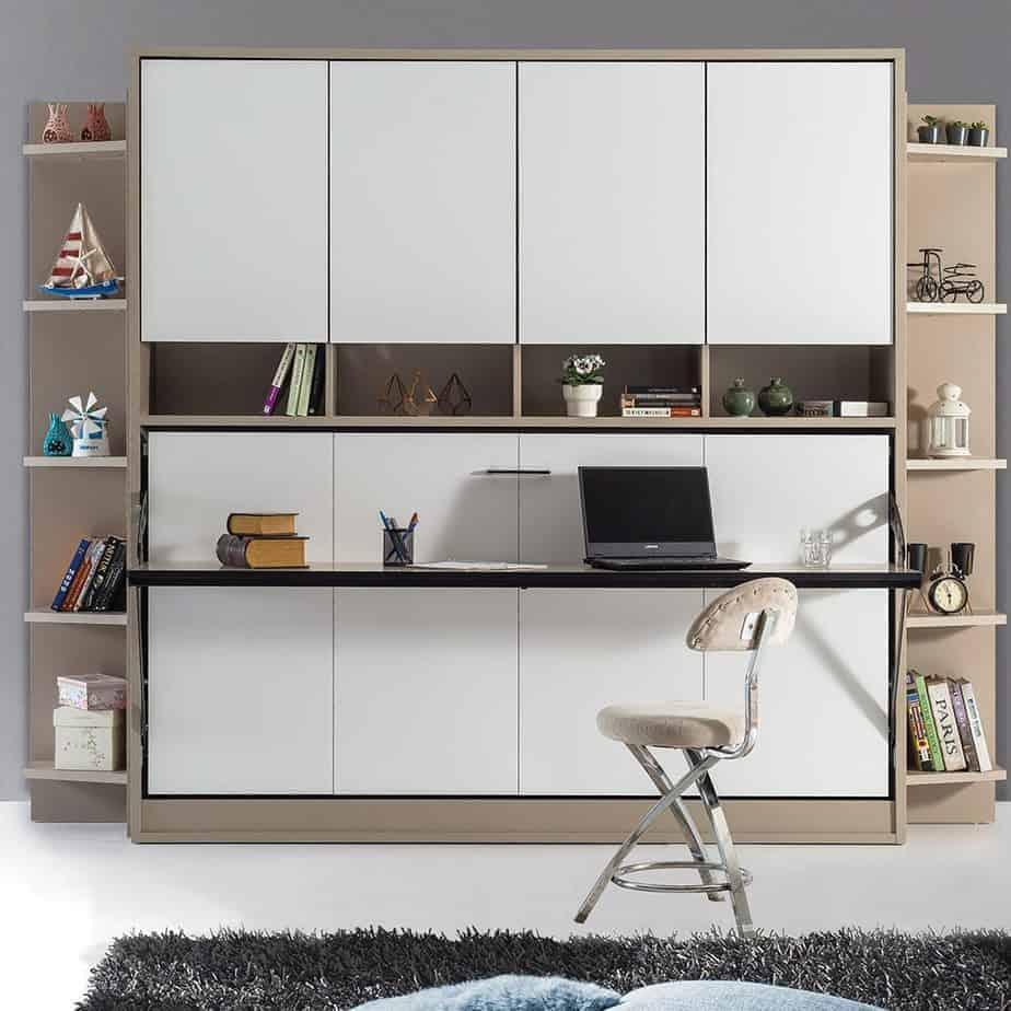 Lit escamotable Pratix | Armoire sur meuble horizontal pour 1 personne 2