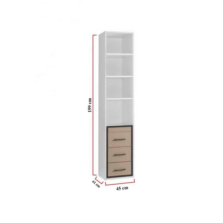 Bibliothèque avec tiroirs en dessous dimensions