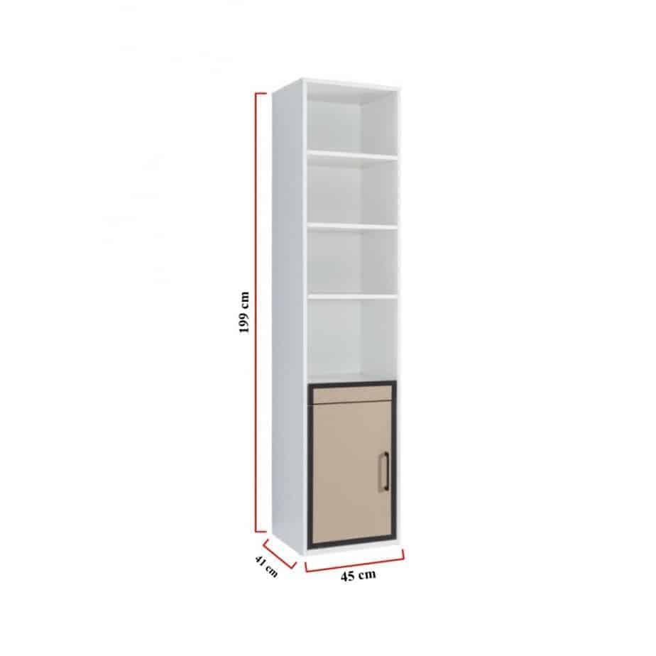 Bibliothèque avec une porte en dessous dimensions