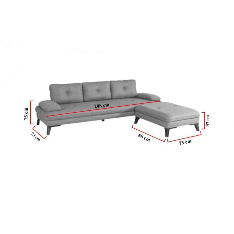 Canapé scandinave d'angle 3 places dimensions