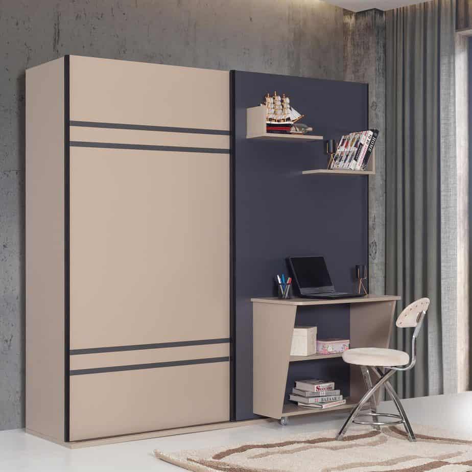 Lit escamotable combine 3 en 1 avec penderie et bureau ensemble dans chambre fermee
