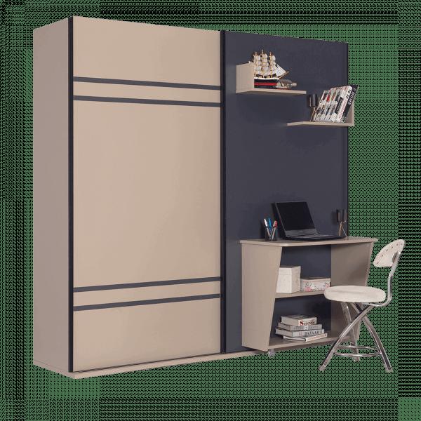 Lit escamotable Pratix | Lit escamotable combine 3 en 1 avec penderie et bureau ensemble fermee