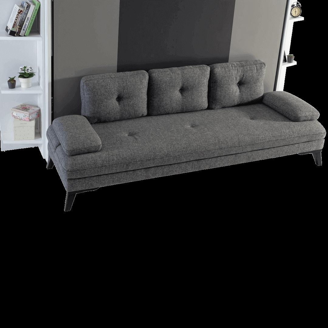 Lit escamotable Pratix | Lit escamotable horizontal 2 places avec canape gri details