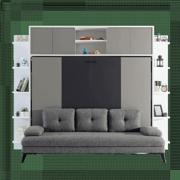 Lit escamotable Pratix | Lit escamotable horizontal 2 places avec canape gri vue