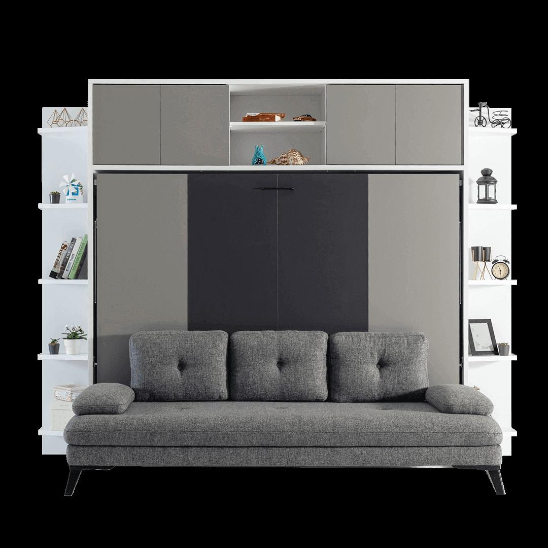 Lit escamotable horizontal 2 places avec canape gri vue