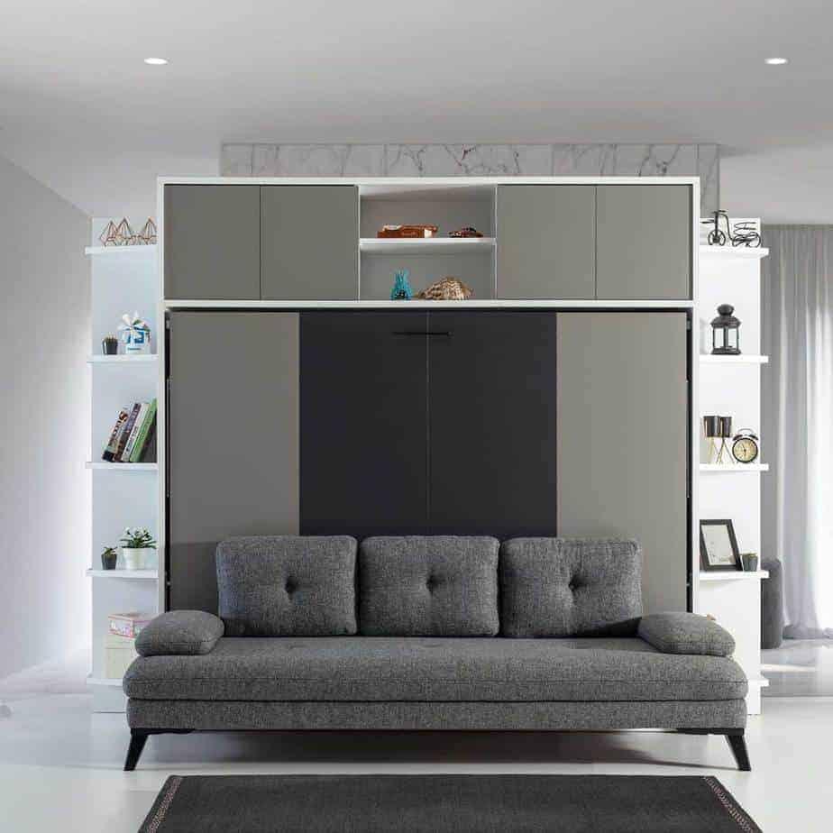 Lit escamotable Pratix | Lit escamotable horizontal 2 places avec canape gri