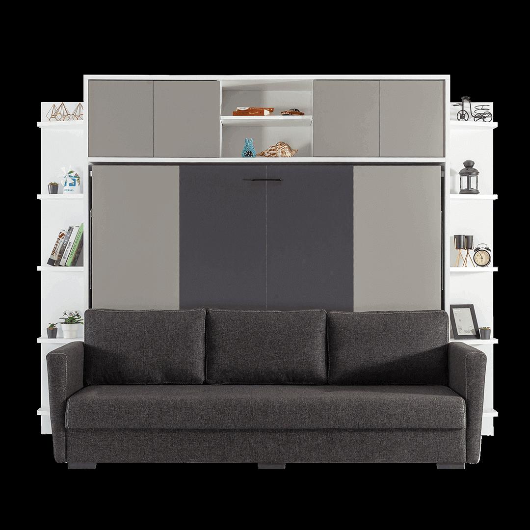 Lit escamotable Pratix | Lit escamotable horizontal 2 places avec canape noir vue