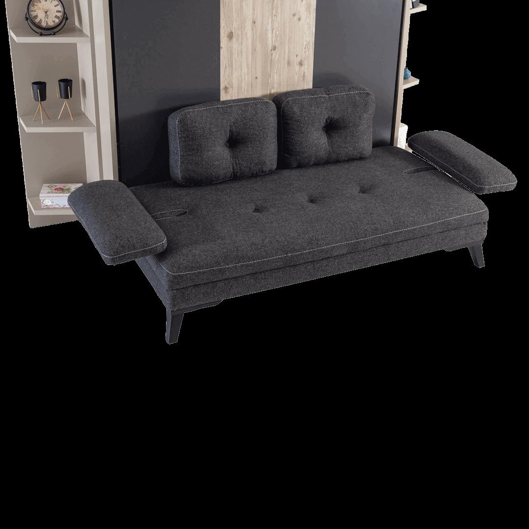 Lit escamotable horizontal 2 places avec canape noire details 1