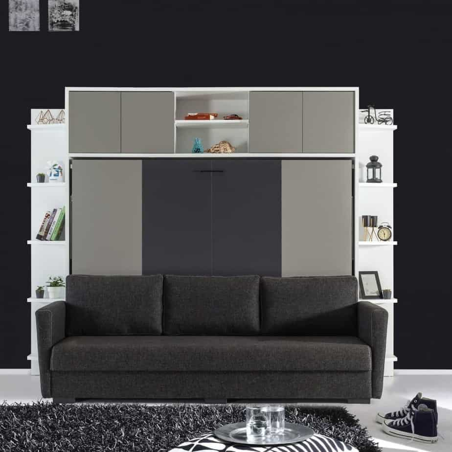 Lit escamotable horizontal 2 places canapé 3 places
