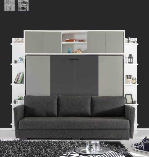 Lit escamotable horizontal avec canapé