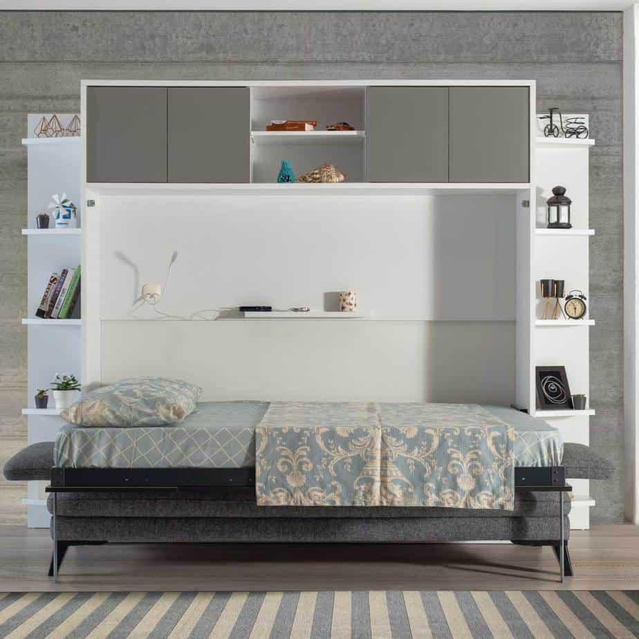 Lit escamotable Pratix | Lit escamotable horizontal 2 places lit ouvert