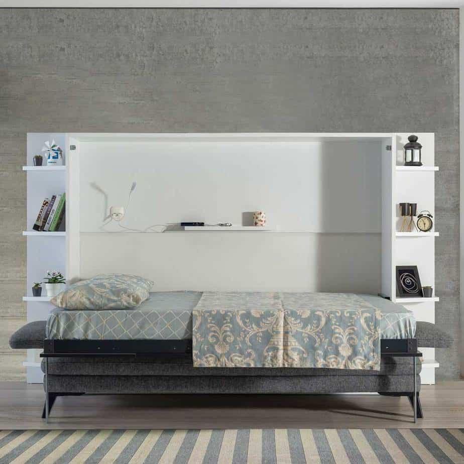 Lit escamotable Pratix | Lit escamotable horizontal 2 places sans armoire beige