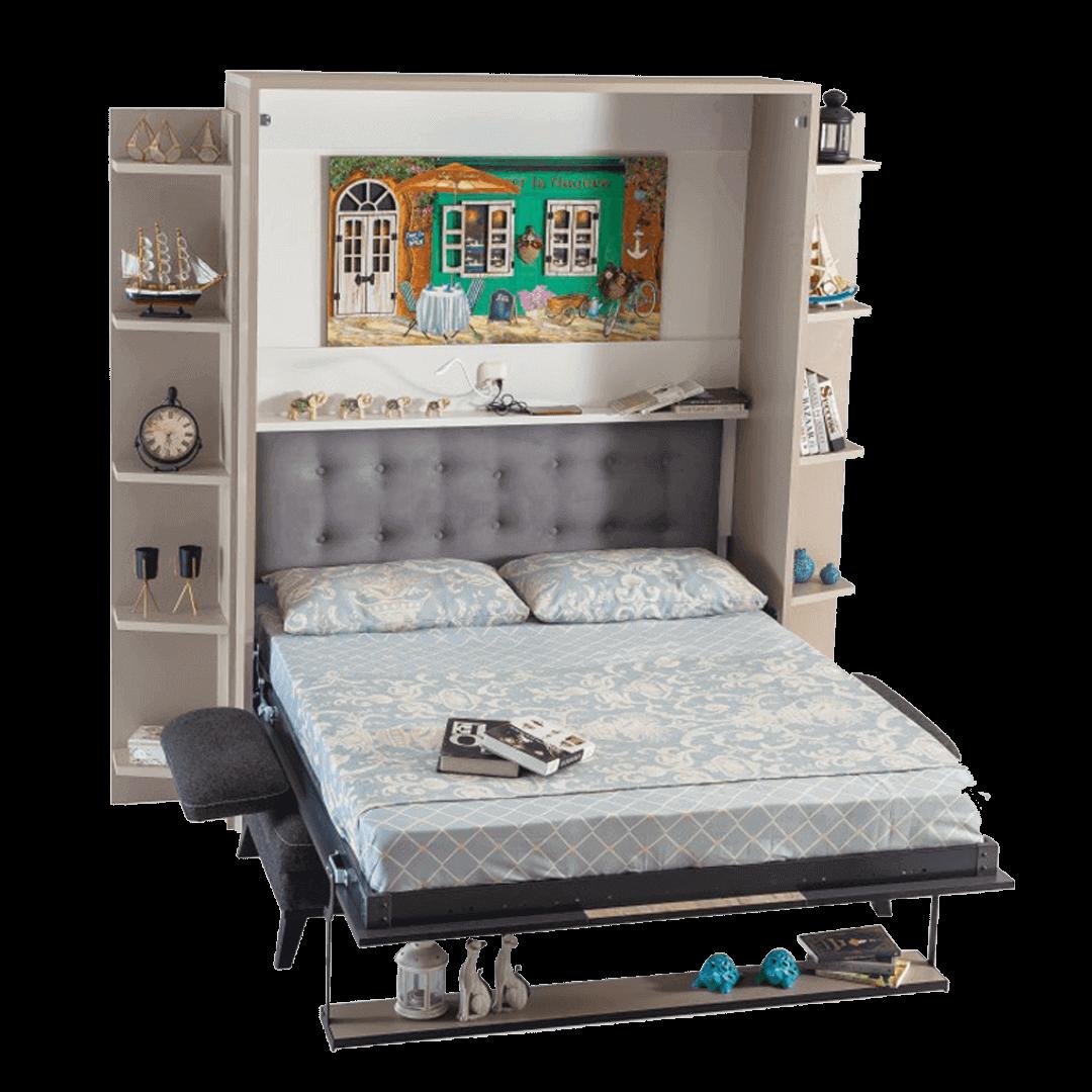 Lit escamotable horizontal 2 places smart avec canape lit ouvert 2 1
