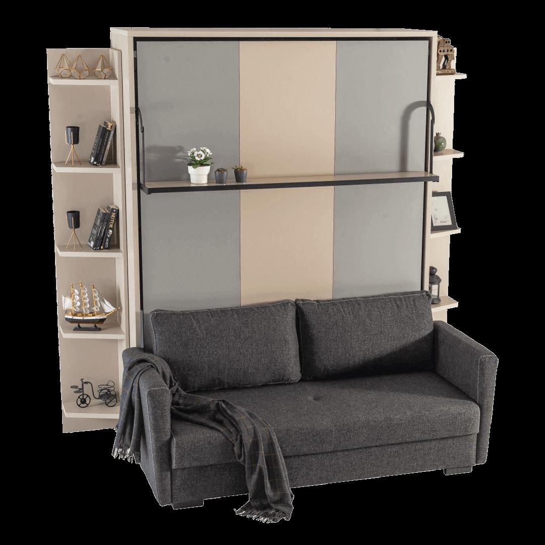 Lit escamotable horizontal 2 places smart avec canape noire details