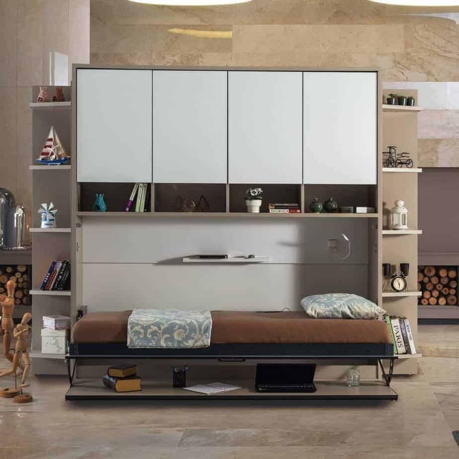 Lit escamotable horizontal optimal 1 place avec armoire sur meuble lit