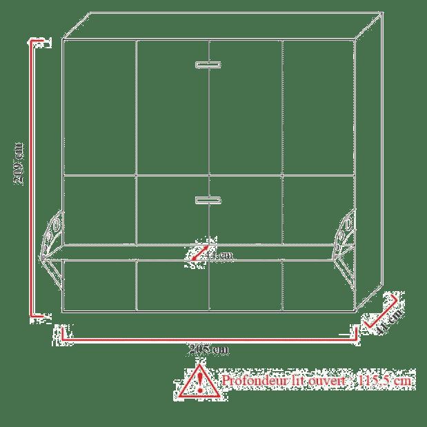 Lit escamotable superposé horizontal dimensions