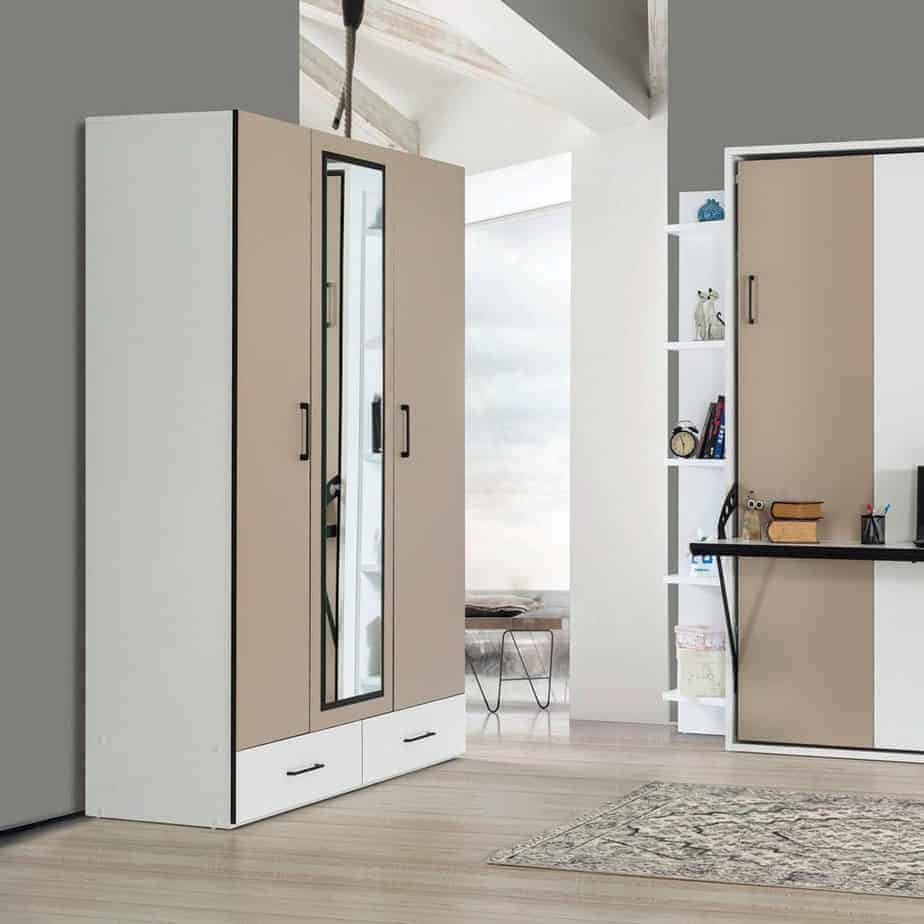 Lit escamotable Pratix | armoire 3 portes avec penderie avec lit escomontable