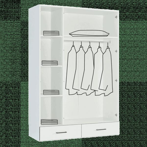 Lit escamotable Pratix | armoire 3 portes avec penderie interieur