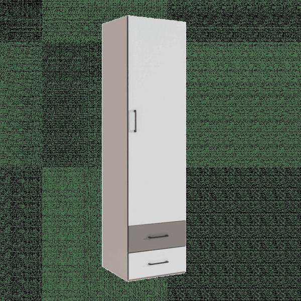 Lit escamotable Pratix | armoire colonne verticale avec tiroirs taupe clair blanche