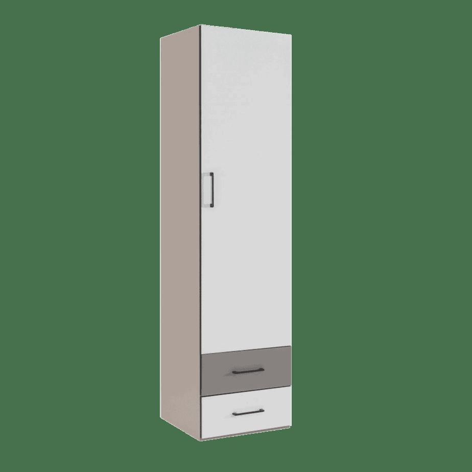 armoire colonne verticale avec tiroirs taupe clair blanche