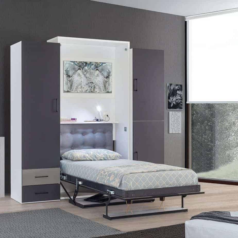 armoire lit escamotable vertical 1 place dans chambre lit ouvert