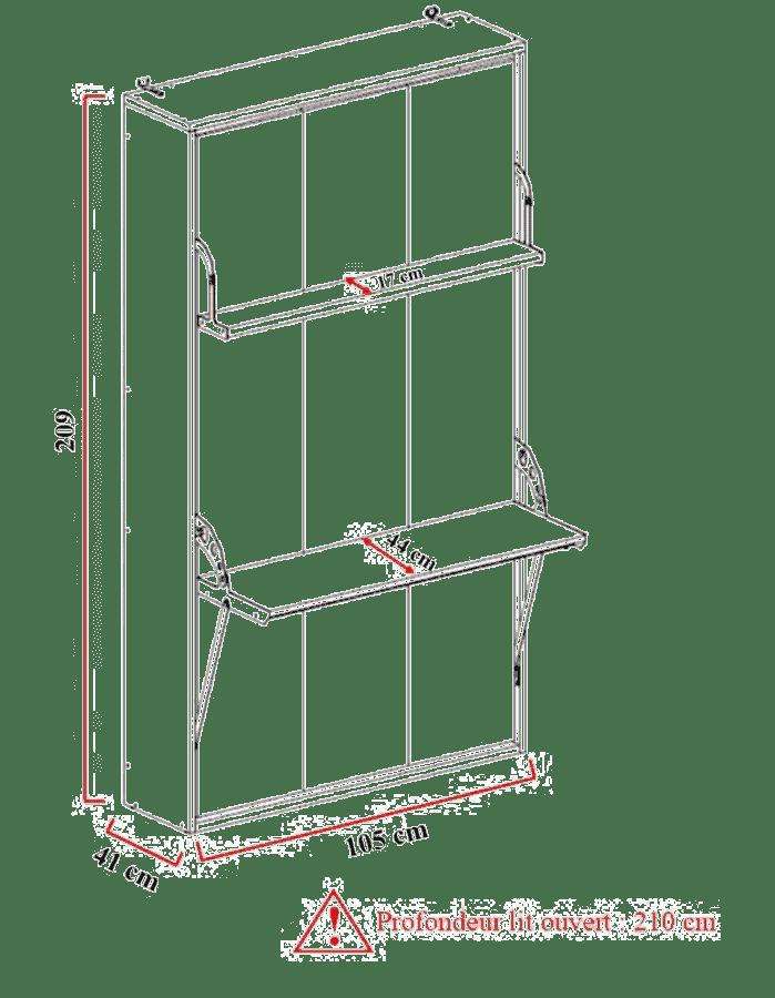 Armoire lit escamotable verticale 1 place
