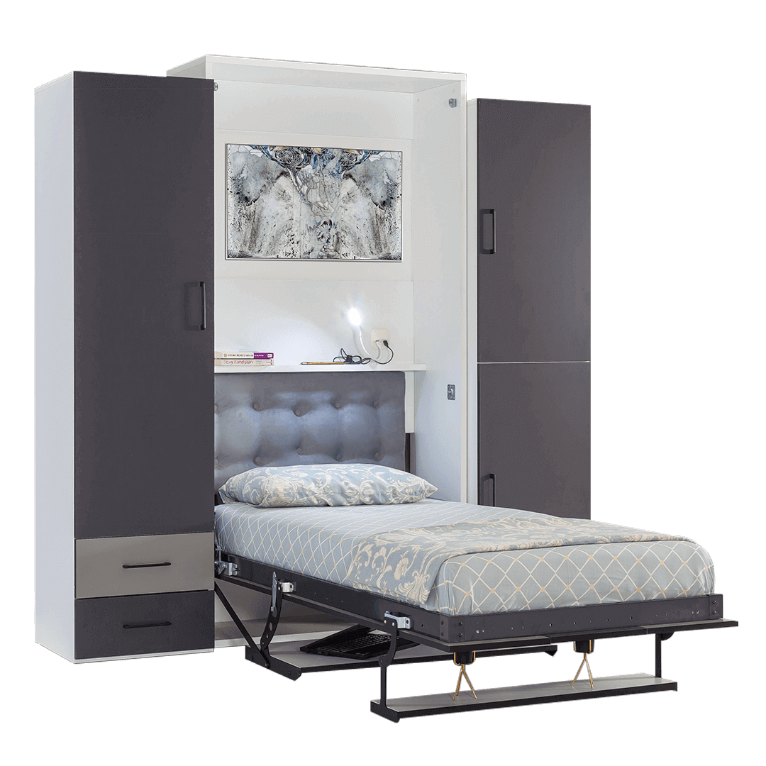 armoire lit escamotable vertical 1 place lit ouvert