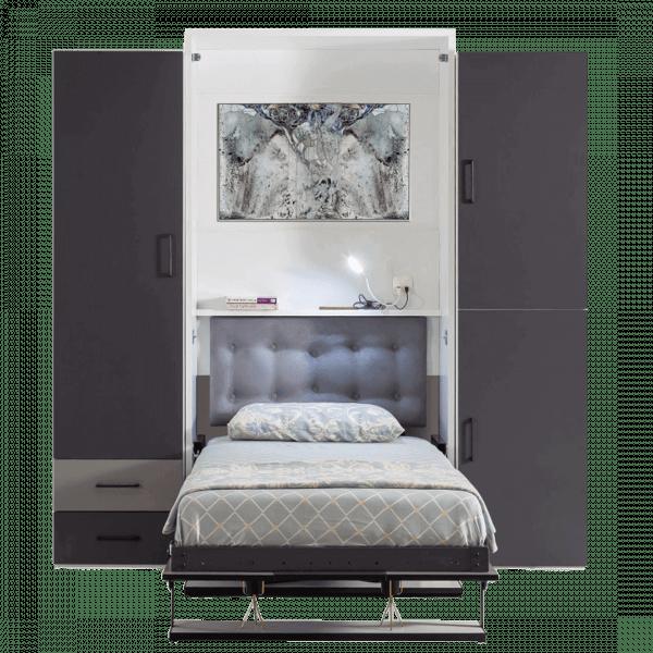 Lit escamotable Pratix | armoire lit escamotable vertical 1 place vue en face lit ouvert