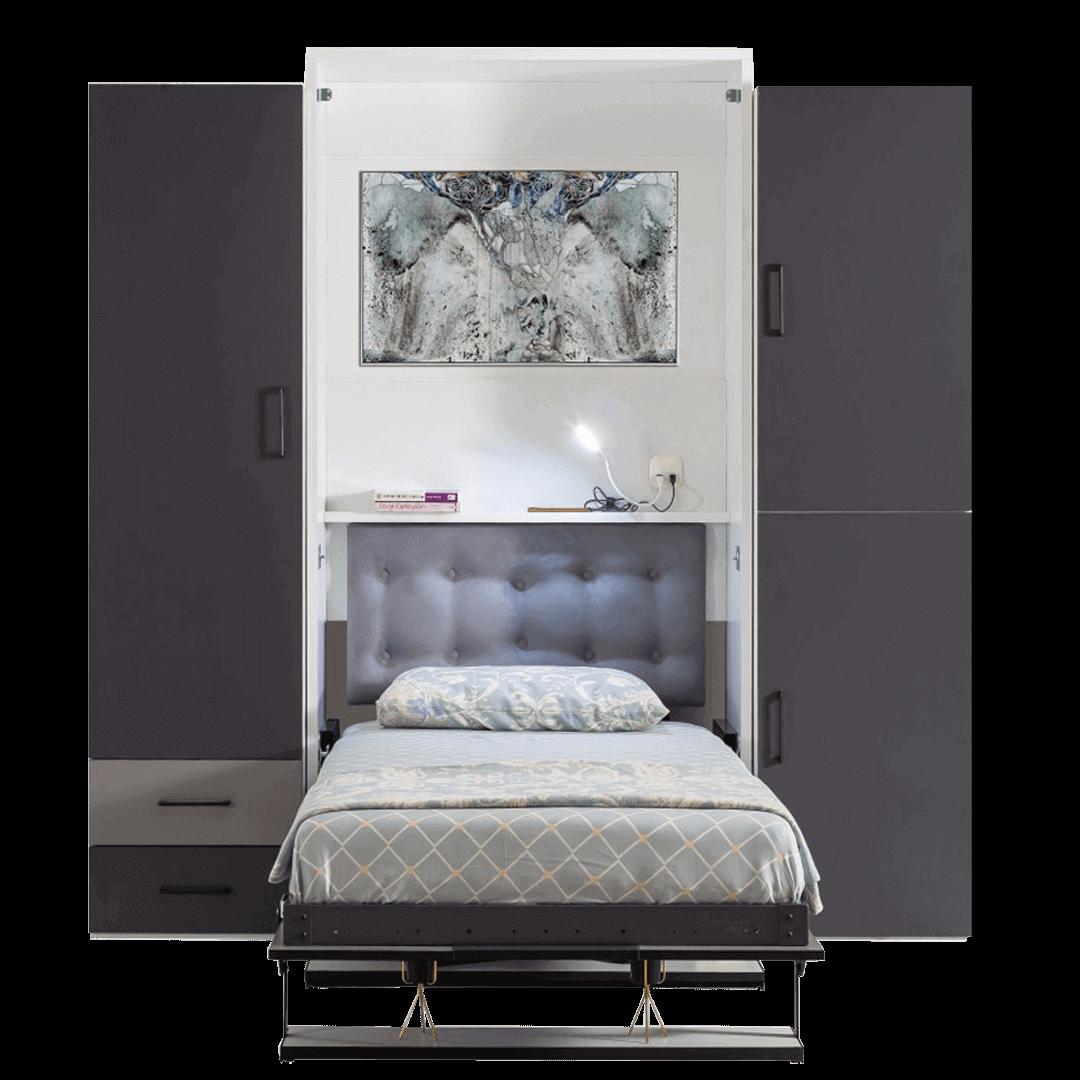 armoire lit escamotable vertical 1 place vue en face lit ouvert