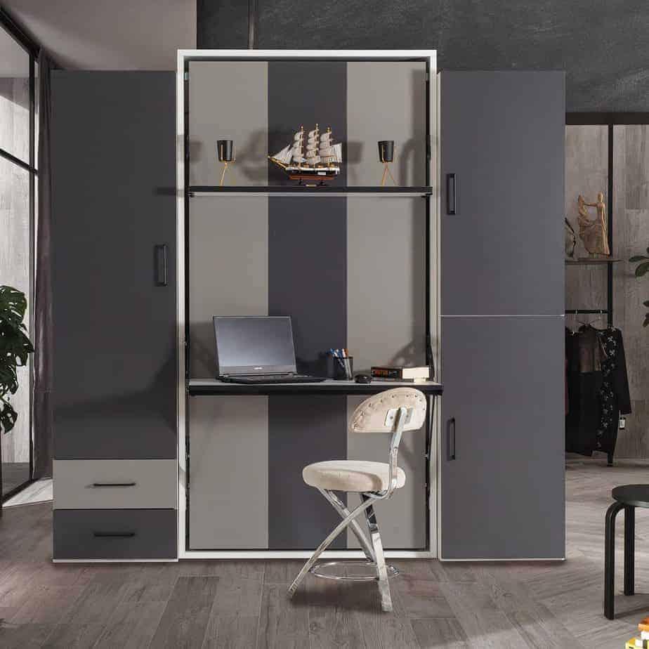 armoire lit escamotable vertical 1 place vue enface